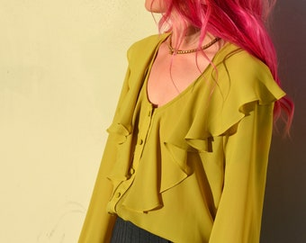 Chartreuse Ruffle Blouse / by Bebe / small - medium