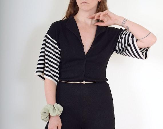 70s Kick Flare Knit Jumpsuit / Med - Large