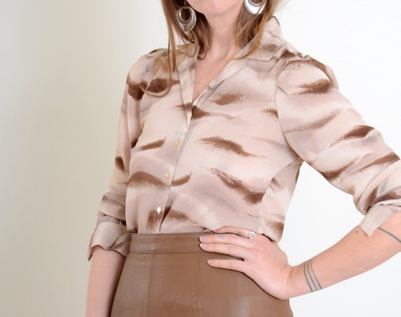 70s Abstract Pattern Blouse