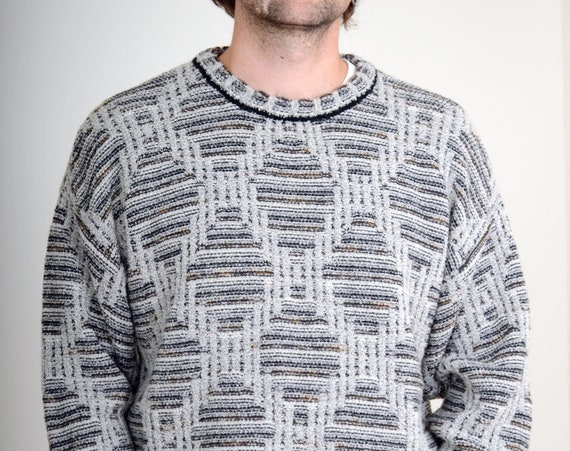 80s Diamond Knit Sweater / Med - XL