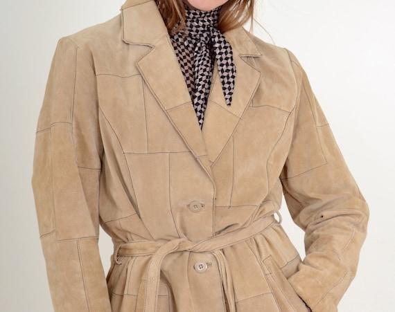 90s Leather Patchwork Coat / Med - Large