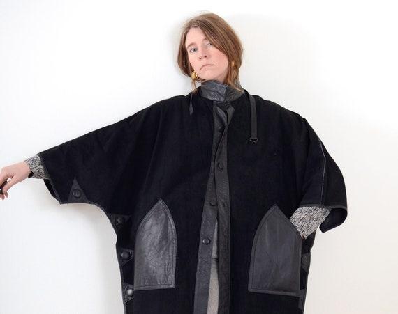 Reversible Leather Cape Coat