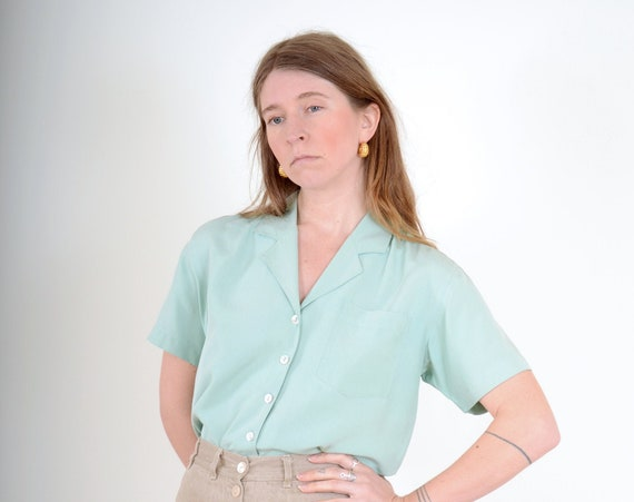 90s Sky Blue Silk Button Top / Small - Med