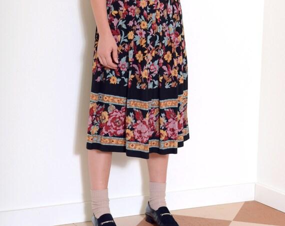 80s Pleated Floral Midi Skirt