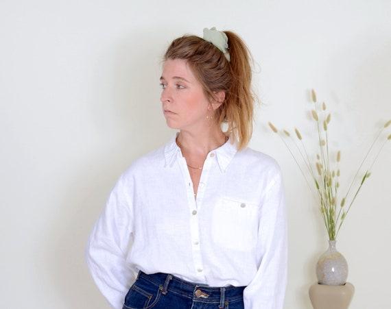 90s Snow White Linen Button Up