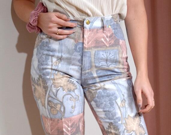 """80s Grape Motif Jeans / 29"""" waist"""