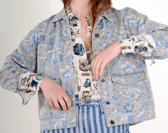 90s Floral Boxy Cotton Jacket / Small - Large