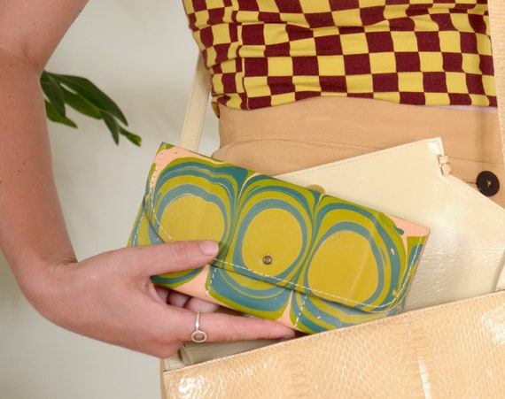 Marble Dyed Leather Wallet / Large Multi-Pocket / 60s Mod Motif