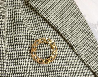 Gold Chain Circle Pin
