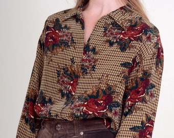 90s Floral on Houndstooth Silk Button Blouse