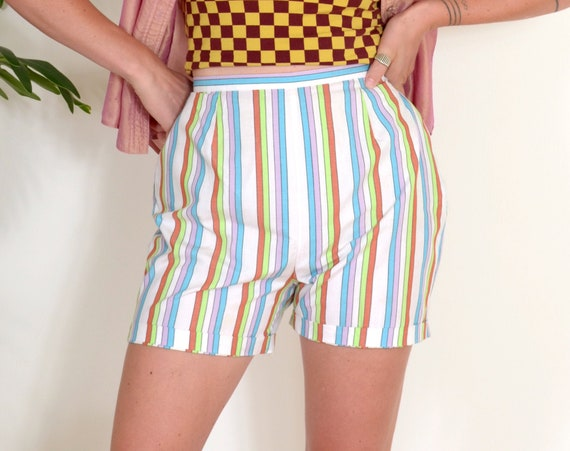 60s Candy Striped Cotton Shorts