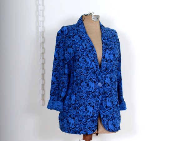 80s Floral Cobalt Blazer Top