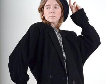 Black Wool Dolman Sleeve Cocoon Coat