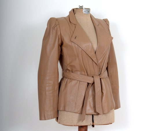 70s Belted Leather Blazer Jacket / XS - Small