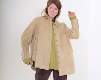 90s Tan Suede Shirt Jacket