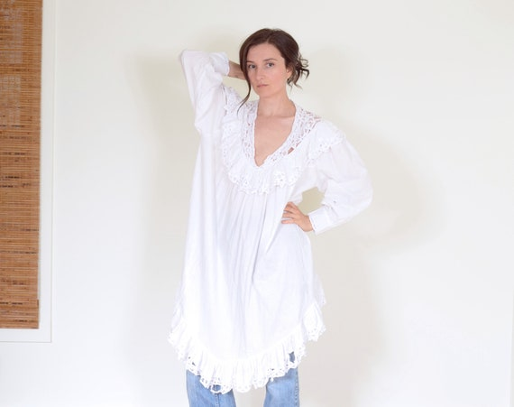 70s Ruffled Smock Dress