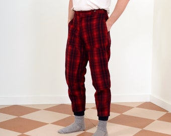 """50s Buffalo Plaid Wool Hunting Pants by Woolrich / High Waisted with Knit Cuffs / 31"""" waist"""