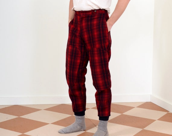 "50s Buffalo Plaid Wool Hunting Pants by Woolrich / High Waisted with Knit Cuffs / 31"" waist"