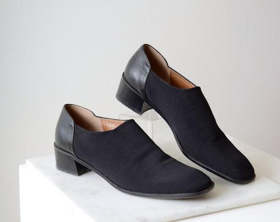 90s Stretchy Knit Black Loafers / size 9