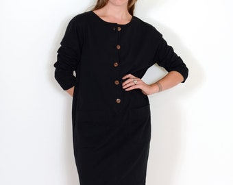 80s Black Cocoon Dress with Pockets