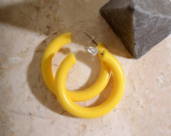 80s Yellow Plastic Hoops