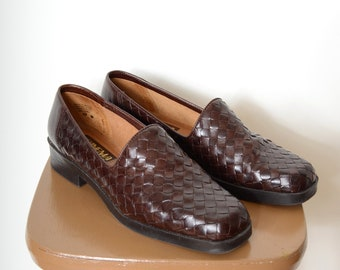 Woven Brown Leather Loafers / size 9