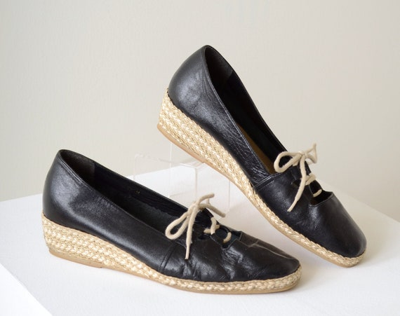 70s Lace Up Espadrille Heels / size 8 - 8.5
