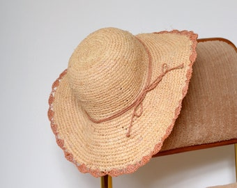 Wide Brim Straw Sun Hat with Mauve Accents