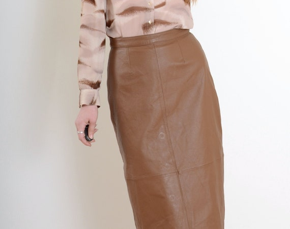 90s Brown Leather Maxi Skirt