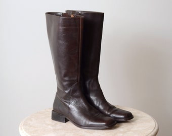 Tall Leather Block Heel Boots / size 8