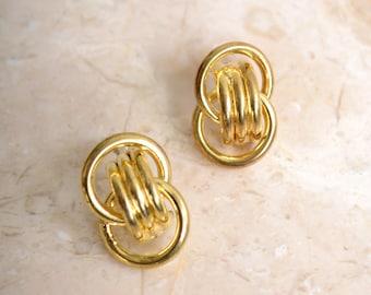 Gold Rings Post Earrings