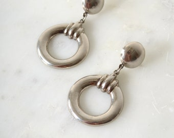 "Vintage Silver Circle Drop Earrings / 2"" length"
