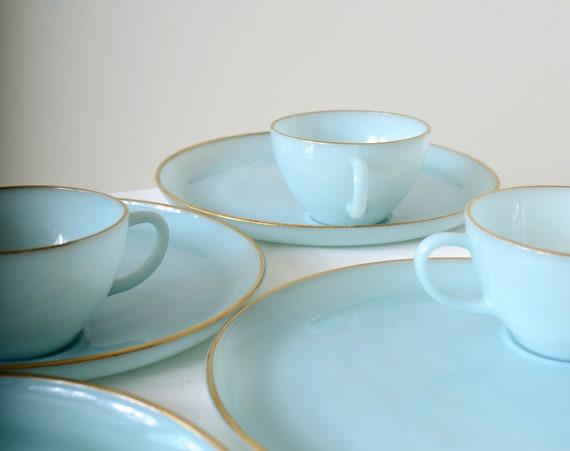 50s Blue Glass Snack Plate and Mug Set