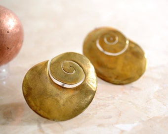 Vintage Brass Spiral Earrings