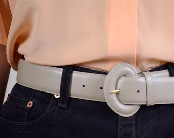 "Grey Leather Belt / 28"" - 32"" waist"