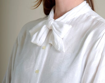 70s Tie Neck Blouse with French Cuffs