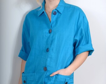 80s Vibrant Linen Shirtdress