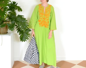 70s Electric Green Embroidered Cotton Kaftan Dress by Josefa