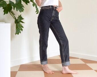 80s Dusty Black High Waisted Levi's / 26 inch waist