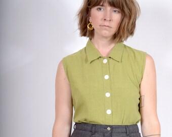 Chartreuse Linen Button Tank / Minimal 90s Sleeveless Top / small - medium