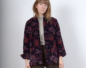 1970s Quilted Floral Velvet Jacket / by Sun'n Sand / medium - large