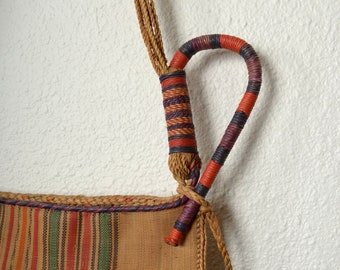 "Vintage Striped Woven Straw Bag / Wall Hanging / 12"" x 12"" pocket"