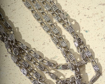 """Long Silver Tone Chain Necklace / 51"""" length"""