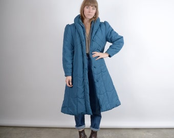 1980s Puff Sleeve Quilted Puffer Coat / medium - large