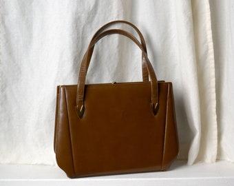 """1950s Golden Brown Vinyl Handbag / 12"""" width"""