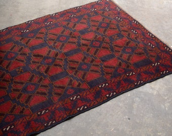 """Kaleidoscope Pattern Hand Knotted Afghani Accent Rug / 100% Wool / 3'5"""" x 5'9"""""""