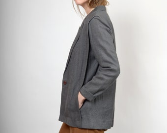 80s Charcoal Weave Structured Blazer / by Baronesa / small - medium
