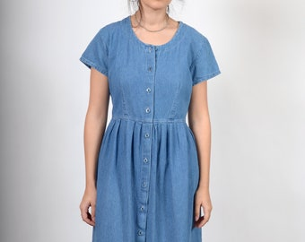 Minimal 90s Button Up Denim Dress / made in USA / size Small - Medium