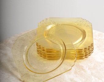 Set of 4 Golden Glass Plates