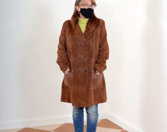 60s Brown Suede Button Coat
